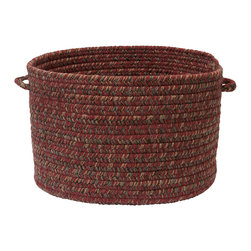 "Colonial Mills, Inc. - Hayward, Berry Utility Basket, 18""X12"" - Soft but sturdy, this braided utility basket is made in America from a blend of polyester and wool fibers. Use it for toting clothes or toys, or to control clutter in the playroom or poolside. American made and available in this rich, heathered color, it's as handsome as it is functional."