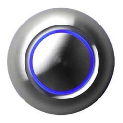 spOre - LED Illuminated Doorbell Button-ALUMINUM/BLUE - SPORE True bridges the gap between modern and traditional design. An all-metal push button is surrounded by a thin halo of LED-illuminated color, which also reflects against the mounting surface. True comes in several finishes and three illumination colors, as well as a non-illuminated option. Substantial in feel but narrow in diameter, True mounts well to narrow doorjambs and other tight applications.