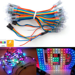 """12mm Diffused Thin Digital RGB LED Pixels (Strand of 25) - RGB Pixels are digitally-controllable lights you can set to any color, or animate. Each RGB LED and controller chip is molded into a 'dot' of silicone. The dots are weatherproof and rugged. There are four flanges molded in so that you can 'push' them into a 12mm drill hole in any material up to 1.5mm/0.06"""" thick. They're typically used to make outdoor signs."""