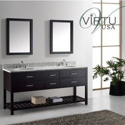 "Virtu USA - Virtu USA 72"" Caroline Estate Double Bathroom Vanity Set with Italian Carrara Wh - The Caroline Estate double sink bathroom vanity features a beautiful sleek design. This vanity offers a revealing hospitality towel rack. Four functional drawers on soft-closing slides provide additional storage. This vanity is finished off in the options of espresso or white along with matching framed mirrors. The Caroline Estate works well in any master or guest bathroom.Virtu USA has taken the initiative by changing the vanity industry and adding soft closing doors and drawers to their entire product line. By doing so, it will give their customers benefits ranging from safety, health, and the vanity�s reliability.FeaturesItalian Carrara White Marble Countertop1 in. Countertop Edge ThicknessEspresso Cabinet FinishEspresso Framed Mirror FinishWater Resistant Low V.O.C SealerZero Emissions Solid Oak WoodAdjustable Slides4 Drawers with Soft Closing SlidesBottom Towel Storage RackBrushed Nickel Handles with Chrome AccentUndermount Round or Square Ceramic Basins with OverflowStandard 8"" Widespread Pre-Drilled HolesMinimal Assembly RequiredFaucets Sold SeparatelyMaximum Dimensions: 72.8"" W x 21.9"" D x 35.2"" HMain Cabinet: 72"" W x 21.5"" D x 34"" HCountertop: 72.8"" W x 21.9"" D x 1.2"" HCountertop Edge Thickness: 1.2 in"" Backsplash: 72.8"" W x 0.6"" D x 3.9"" HFramed Mirrors: 23.6"" W x 1.1"" D x 31.5"" HAssembly RequiredVirtu 2 Year WarrantyVirtu USA reserves the right to repair, replace or refund any products resulting from a manufacturer's defect.How to handle your counterView Spec Sheet"