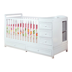 AFG Baby - AFG Baby Daphne 3 in 1 Crib and Changer Combo in White - The Daphne 3 in 1 crib and changer combo is perfect for the space-conscious family. Its versatile build creates the perfect baby station. The changing table comes equipped with three drawers and two unit shelves that can later be used as a nightstand/dresser. The crib can later be converted into a youth bed. Its durability and non toxic finish makes the crib easy to maintain.