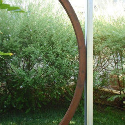 """TerraSculpture - TerraSculpture """"Relaxed"""" - Weathered steel, brushed stainless steel, powdercoated steel base (bronze)"""