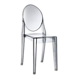 """LexMod - Casper Ghost Dining Side Chair in Smoked Clear - Casper Dining Side Chair in Smoked Clear - Combine artistic endeavors into a unified vision of harmony and grace with the ethereal Casper Chair. Allow bursts of creative energy to reach every aspect of your contemporary living space as this masterpiece reinvents your surroundings. Surprisingly sturdy and durable, the Casper Chair is appropriate for any room or outdoor setting. Pure perception awaits, as shining moments of brilliance turn visual vacuums into new realms of transcendence. Set Includes: One - Casper Side Chair For Outdoor Use, No Assembly Required, Injection Molded, Stackable, Sturdy Polycarbonate Overall Product Dimensions: 15""""L x 13""""W x 36""""H Seat Dimensions: 15""""L x 11.5 - 14""""W x 18.5""""H - Mid Century Modern Furniture."""