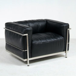 Modern Classics - Le Corbusier: LC3 Down Feathers Relaxed Lounge Chair Reproduction - Features: