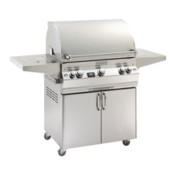 "Fire Magic - Aurora A660s2A1N62 Standing Digital NG Grill with Single Side Burner - A660 Stand Alone Grill with Single Side Burner, Rotisserie Backburner, Grill Light & Infrared Burner System A660s Series Features: Cast stainless steel ""E"" burners for consistent, even heat distribution, guaranteed for life (optional infrared burners are available)"