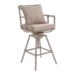 Great Deal Furniture - Tallahassee Pipe Outdoor Bar Stool - Made of genuine steel pipes the Tallahassee bar stool has an aesthetic design for classy modern homes. The Tallahassee bar stool combines a modern, angular pipe frame with the convenience of outdoor cushions. You can comfortably relax at your outdoor bar or pub table and adjust the stool's height accordingly. This truly a unique design brought to you by Great Deal Furniture designers will be a focal point in any outdoor decor.