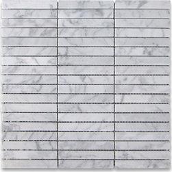 "Stone Center Corp - Carrara White Marble Rectangular Stacked Mosaic Tile 5/8x4 Honed Carrera - Carrara White Marble 5/8x4"" pieces mounted on 12x12"" sturdy mesh tile sheet"