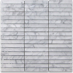 "Stone Center Corp - Carrara White Marble Rectangular Stacked Mosaic Tile 5/8x4 Honed Carrera - Carrara White Marble 5/8x4"" pieces mounted on 12x12"" sturdy mesh tile sheet"