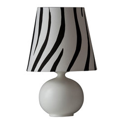 Ziqi Home - Zaida Table Lamp, Small - Made from a high fire porcelain ball and with a half matted glaze; make no mistake with her small size for she's just as daring as her sister.