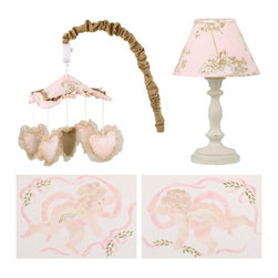 Cotton Tale Designs - Lollipops & Roses Decor Kit - A quality baby bedding set is essential in making your nursery warm and inviting. All Cotton Tale patterns are made using the finest quality materials and are uniquely designed to create an elegant and sophisticated nursery. Part of the Lollipops & Roses collection, is the Lollipops & Roses Decor Kit. The Decor Kit included Wall Art, Standard Lamp, and Mobile. This hand painted wall art features two charming cherubs. Painted on natural twill and mounted on lightweight foam core it hangs easily. 16 in. H x 20 in. W, these two pieces will add the final touch to you nursery. Dust only. This ceramic base lamp adds a decorative touch to the nursery measuring 19 in.  and topped with a pink angel print shade fitted securely to the base. Max watt bulb recommended is 60 watt. Spot clean only. Perfect for your little girl. The last part of the Lollipops & Roses Decor Kit is the mobile, pink shimmer hearts circle a tan velvet heart under a canopy of pink angel toile trimmed with a pink shimmer ruffle in this musical mobile. Each heart is trimmed with organza ribbon and the mobile neck is sheathed in warm tan velvet. Wind up mobile plays Brahms Lullaby. Spot clean only. Mobiles are not toys and should be removed from the crib when baby can sit up unassisted.