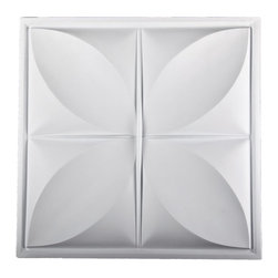 """Petal Ceiling Tile - White-Sample - Perfect for both commercial and residential applications, these tiles are made from thick .03"""" vinyl plastic. Their lightweight yet durable construction make these tiles easy to install. Waterproof, these tiles are washable and won't stain due to humidity or mildew. A perfect choice for anyone wanting to add that designer touch at an amazing price."""