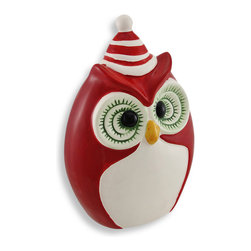 Red White and Green Ceramic Winter Owl Statue Decor 9 Inch. - This beautiful red, white and green ceramic owl statue stands 9 inches tall, 6 inches wide and 3 1/2 inches deep, with a festive striped winter hat on top of his head. It looks great on tables and plant stands on your porch or patio, and it is a wonderful holiday accent in the home.