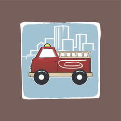 Homeworks Etc - Homeworks Etc Red Firetruck Blue City Scape Brown Border Canvas Wall Art - Vroom, vroom!  Enjoy this fun canvas wall art depicting a red truck with a bright red firetruck with a city scape behind it.  Makes a great baby shower or birthday gift! It's lightweight design is easy to hang.  Finished brown edge with no framing required.  Canvas stretched over a wooden frame.  Measures 10 x 10 x 1.5-inches.  Perfect for use in  a children's bedroom.