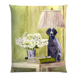 """Denise H. Cooperman - Belgium Linen Pillow - """"Roxy Being Bad"""" Luxurious Belgium Linen Pillow. Museum quality Nano print on Imported Belgium Linen. Fully inner lined with a down combo fill and zipper. Dry Clean only. Truly elegant pillow with an image from the original oil painting """"Roxy Being Bad"""". Each pillow is custom made to order. Typically there is one in stock but allow 4-6 weeks production if stock item is sold.  Giclees, and Limited Edition Prints are also available.  Original is in a private collection"""