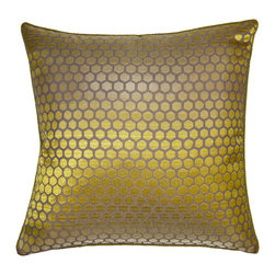 Square Feathers - Verde Pillow, Honeycomb Pillow - Honeycomb is a popular pattern right now, but this treatment in particular is an absolute winner. The glowing velvet softens the geometric design just enough to really set it apart.