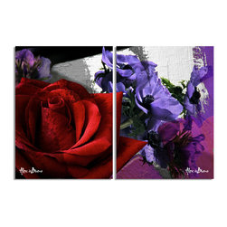 Ready2HangArt - Ready2HangArt Alexis Bueno 'Roses are Red, Violets are Blue III' Canvas Wall Art - This abstract canvas art is the perfect addition to any contemporary space. It is fully finished, arriving ready to hang on the wall of your choice.