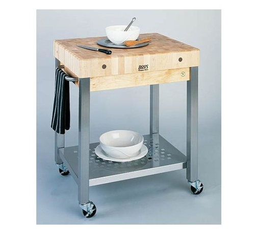 "John Boos - Kitchen Cart - Cucina Technica (4 in. Thick T - Choose Leaves: 24 in. L x 4 in. W x 24 in HThick Top).  This thoroughly crafted Kitchen Cart - Cucina Toscano is not only multi-functional, reliable, and stunning, but it's the idea space-saving solution.  An optional drawer is also available for a small fee.  Designed with an industrial feel, this Cucina Technica kitchen cart is a perfect addition to any contemporary kitchen.  Cooks love this charming and versatile kitchen cart. * Stainless steel shelf (food service grade). 3-in. locking casters. Towel bar (stainless steel). Optional Dovetailed Maple Drawer w/ stainless steel front available for 30"" x 24"" model only. Cart also available with 2-1/4 in. Thick Edge Grain Maple Top. 35 in. H x 24 in. D x 24 in. or 30 in. W. The 24"" x 24"" model weighs 105 lbs. and the 30"" x 24"" model weighs 122 lbs"
