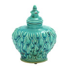 """Benzara - Yangtze Fascinating Contemporary Styled Ceramic Jar - Bring home this well designed attractive ceramic jar that will add charm to your kitchen space. This jar is made of quality ceramic that will last for years. This ceramic jar is well designed on its exteriors, polished in turquoise color palette that can add beauty to any space. You can preserve toffees, gems in this jar. Even if not in use you can simply keep this. This glossy texture of this ceramic jar will spread elegance across.Friends paying a visit to your place will be surprised to check out this lovely ceramic jar. The jar is uniquely styled that blends with all kinds of interiors. You can gift this ceramic jar to your near and dear ones and surprise them immensely. Beautiful ceramic jar measures 9 inches (W) x6 inches (L) x8 inches (H); Made of quality ceramic; Durable construction; Dimensions: 12""""L x 6""""W x 15""""H"""