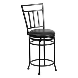 """Flash Furniture - 24'' Black Metal Counter Height Stool with Black Leather Swivel Seat - This gracefully styled stool will add an elegant finish to your kitchen, dining room or bar area. The curvaceous frame and attractive powder coated finish will complement any decor. The plush padded seat looks and feels great. A full 360 degree swivel and footrest ring provides comfort and ease. Contemporary Metal Counter Height Stool; Curved Designer Back; Swivel Seat; Foot Rest; Matt Black Powder Coated Frame Finish; Protective Floor Glides; Black LeatherSoft Upholstery; LeatherSoft is leather and polyurethane for added Softness and Durability; CA117 Fire Retardant Foam; Designed for Residential Use. Dimensions: 19""""W x 20""""D x 40""""H"""