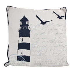 Navy Blue / White Lighthouse Print Canvas Throw Pillow 16 Inch - This 16 inch throw pillow adds a wonderful accent inside your nautical decor. The front of the pillow features a lighthouse, in navy blue, with nautical themed writing and seagull silhouettes in the background. Navy blue piping contrasts nicely with the white pillow. The back side is navy blue and white striped. It has a zipper on one side, so you can launder the cover. It is made of 100% polyester, from the cover to the soft stuffing. This pillow is perfect on chairs, couches, and beds in your home.