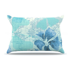"Kess InHouse - Catherine Holcombe ""Flower Power Blue"" Aqua Map Pillow Case, King (36"" x 20"") - This pillowcase, is just as bunny soft as the Kess InHouse duvet. It's made of microfiber velvety fleece. This machine washable fleece pillow case is the perfect accent to any duvet. Be your Bed's Curator."