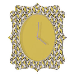 DENY Designs - Bianca Green Braids Mustard Quatrefoil Clock - Tick tock, tick tock. When time feels like it's standing still, check out the quatrefoil clock collection. With a sleek mix of baltic birch ply trim that's unique to each piece and a glossy aluminum face, this quatrefoil clock is just what you need to make the day go by just a little bit faster.