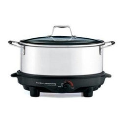Focus Electrics - Versatility Slow Cooker 6 Qt. - West Bend 6 Qt. Versatility Slow Cooker Stainless Steel.  The 6 Qt. removable cooking pot can be used as a serving dish and can be used on the stove top or in the oven.  It can also be stored in the refrigerator or freezer.  The base doubles as a light duty non-stick griddle.  Adjustable temperature control.  Liftout roasting rack, glass lid and cooking pot are dishwasher safe.  Heat resistant handles.