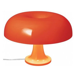 Artemide - Artemide Nessino Table Lamp - The Nessino table lamp features a body and diffuser in injection-molded ABS thermoplastic, available in white or orange.     Nessino is the re-interpretation and current version of the famous Nesso table lamp from the Italian lamps manufacturer Artemide.  Nessino sends direct and diffused light. The light goes through the mushroom head coloured while it shined directly downwards to the bottom. Body and shade of the lamp consist of polycarbonate. Nessino uses four illuminants so that the whole shade is illuminated.     Manufacturer: Artemide   Designer: Giancarlo Mattioli     Made in:  Italy   Dimensions:  Height: 22.3 cm, Diameter: 32 cm      Lamping:  4 X 25W G16.5 Incandescent bulbs (not included)      Material: Polycarbonate
