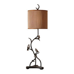 Uttermost - Uttermost 29168-1 Bird Accented Metal Lamp Three Little Birds Collectio - Uttermost 29168-1 Billy Moon Three Little Birds LampMetal branches finished in a rustic bronze with heavily antiqued silver details and burnished edges. The round drum shade is made of natural woven bamboo with silkened bronze trim.Features: