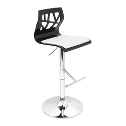 "Lumisource - Folia Barstool Black + White - The curved wood frame and cut-out backrest of the Folia Barstool will add a touch of style to your kitchen or bar.  Seat adjusts from 26"" - 31"" high and barstool swivels 360 degrees for convenience. Padded seat for added comfort. ** Note: Due to the natural variation in wood, color may vary slightly**"
