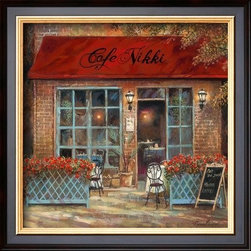 Artcom - Cafe Nikki by Ruane Manning - Cafe Nikki by Ruane Manning is a Framed Art Print set with a COVENTRY Black wood frame.