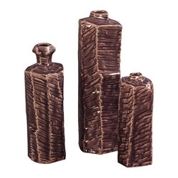 Howard Elliott - Textured Ceramic Bottles w/ Eggplant Glaze and Cream Highlights - set of 3 - This set of 3 ceramic bottles feature a unique textured eggplant glaze with cream highlights.
