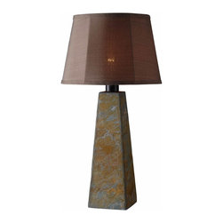 Kenroy - Kenroy KR-32224SL Sleek Outdoor Table Lamp - Sleek's natural slate bases are uniquely textured.  Rustic and urbane, this crafty fusion of elements will bring a keen design influence to any outdoor living space.