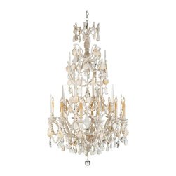 Crystal and Seashell Baroque 8 Light Tiered Chandelier - Combining ornate traditional style and crystals with the organic elegance of seashells, this nautical baroque chandelier makes a grand statement anywhere it is placed.  Like the Siren's legendary songs, this piece will seduce one and all by evoking the distinct femininity of the sea.