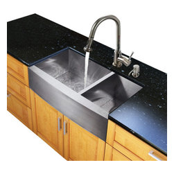Vigo Industries - 22.25 in. Farmhouse Kitchen Sink and Faucet Set - Includes soap dispenser, two matching bottom grids and two strainers