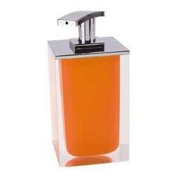 Gedy - Square Soap Dispenser Made From Resin, Orange - Gedy has added a newly designed soap dispenser to their already popular Rainbow collection. This dispenser is a free standing dispenser made from thermoplastic resins and cromall and is available in 9 different finishes. The chrome pump has a sleek curvature, giving way to a new modern look. Made in Italy, it is perfect for the contemporary bathroom. Rainbow soap dispenser. Manufactured by Italian designer Gedy. Available in 9 vibrant finishes. Free standing soap dispenser. Body made from thermoplastic resins with a cromall pump. Designed in Italy.