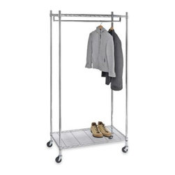 Millwork Trading Company, Ltd. - Commercial Grade Garment Rack - Commercial grade garment rack is sturdily constructed to hold more weight. Heavy-gauge rack has a chrome finish for a sleek look in a walk-in closet or bedroom.