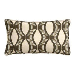 "Cushion Source - Bongo Chocolate Ogee Outdoor Lumbar Pillow - The 20"" x 12"" Bongo Chocolate Ogee Outdoor Lumbar Pillow features an ogee pattern in chocolate brown on a beige background."