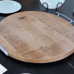 Oak Wine Barrel Head Tray, Beeswax Finish by Wine Country Artisan - From kitchen to table, this tray is functional and beautiful.