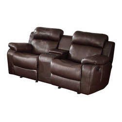 Homelegance - Homelegance Marille Double Glider Reclining Loveseat with Center Console - With either the extended stretch of the reclining sofa or soothing rock of the reclining chair, your comfort is taken care of in the Marille collection. Drop-down cup holders add additional function to the collection. The set is covered in a warm brown polished microfiber, brown bonded leather match or black bonded leather match.