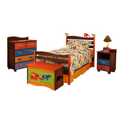 Zoo 4 U Twin Bed, Natural - A red elephant, rhino and tiger roam on the headboard waves of this quality twin bed, made of solid hardwood finished with natural with red posts. Includes headboard, footboard, rails, mattress slats, 4 sturdy casters, and finials.