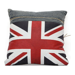 Cowboy Cushion, Blue Denim W/ Uk Flag - Made from recycled denim fabric sewn into a whimsical design, the Cowboy cushion is a must for any room.
