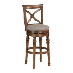 Livingston Sienna Counter Stool - Do you want a classic piece of furniture that works as additional seating but is finely crafted? This chair has turned legs and a carved flower motif in the back. Use it as extra seating for large parties or a casual breakfast or lunch at your kitchen counter top or bar.