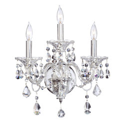 "Quorum Lighting - Quorum Lighting 665-3-514 Bohemian Marien Traditional Bathroom / Vanity Light - The great dressed chandeliers of the late Georgian period in England, of which the Bohemian-Marien chandeliers are a superb example, were the height of luxury at the time, being both very expensive and intricate in their production. After their installation, the worked involved in maintaining this means of lighting the domestic interior was laborious. Candles had to be continuously replaced, or trimmed and straightened after every lighting, and each bobeche and their adjacent spattered crystals cleared of wax, washed and polished. Only those in higher levels of society could afford staff especially employed for this purpose. Specifically, a ""lamp and candle man"" was hired to maintain the lighting arrangements, and a small room, the ""lamp and candle room"" was required in the residence where all the materials and equipment for this task were kept. Today, electric lighting contributes to the minimal unkeep required to maintain the dressed crystal chandeliers without compromising the sumptuous beauty of the fixtures."