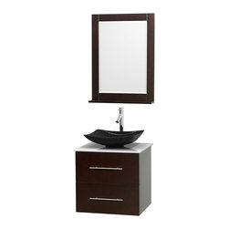 "Wyndham Collection - Centra 24"" Espresso Single Vanity, White Man-Made Stone Top, Black Granite Sink - Simplicity and elegance combine in the perfect lines of the Centra vanity by the Wyndham Collection. If cutting-edge contemporary design is your style then the Centra vanity is for you - modern, chic and built to last a lifetime. Available with green glass, pure white man-made stone, ivory marble or white carrera marble counters, with stunning vessel or undermount sink(s) and matching mirror(s). Featuring soft close door hinges, drawer glides, and meticulously finished with brushed chrome hardware. The attention to detail on this beautiful vanity is second to none."