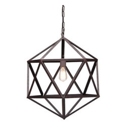 zuo modern - amethyst pendant light - Geometric in form and hard to the core. The amethyst pendant has an industrial metal body with an aged patina finish.