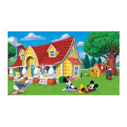 RoomMates Peel & Stick - Mickey and Friends Chair Rail Prepasted Mural - Completely transform your room with this Mickey and Friends XL wall mural. This colorful design features Mickey Mouse, Minnie Mouse, Donald Duck, Daisy Duck, Goofy, and of course Pluto! Completely transform your room with this Mickey and Friends XL wall mural. This colorful design features Mickey Mouse, Minnie Mouse, Donald Duck, Daisy Duck, Goofy, and of course Pluto! You can make your little one's room into a Mickey and Friends paradise in under an hour! for more Disney fun on your walls, be sure to check out the rest of our Mickey and Friends collection, including wallpaper, borders, decals, and so much more!.