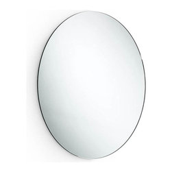 WS Bath Collections - Oval Wall Mirror - Modern/contemporary design. 5 years silvering guaranteed. Warranty: 1 year. Made from mirrored glass with silver back plating. Stainless steel frame. Made in Italy. 23.2 in. W x 23.2 in. H (15 lbs.). Spec SheetLinea; washbasins, washstands, and bathroom furniture, of various sizes and materials. Pureness of glass, polish of steel, and warmth of wood. Perfection of lines, art, and harmony. Made by Lineabeta of Italy to Highest Industry standards.