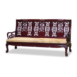 China Furniture and Arts - Rosewood Imperial Dragon Design Couch - Stately in its square form, the majestic presence of this couch is further accentuated with the dragon design back accented with hand crafted mother of pearl inlaid on the top, and the tiger paw design of the feet. Made of solid rosewood in traditional joinery technique by artisans in China. Hand applied rich dark cherry finish.