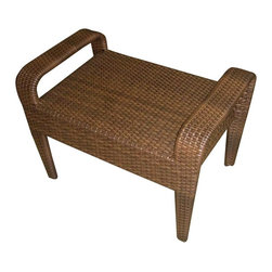 Hospitality Rattan - Grenada Patio Ottoman in Viro Fiber Antique B - Elegant and sophisticated with a breezy island charm, this woven wicker ottoman will be a perfect way to bring the spirit of the beach to your home's outdoor decor. Ideal as a luxurious footrest, impromptu table or extra seating for guests, the ottoman is finished in antique brown and has a durable aluminum frame. This product is warranted for outdoor use. Made of Aluminum Frame w All Weather Viro Fiber Wicker. Constructed of an aluminum frame wrapped in woven viro fiber. Cushions are optional on this item. Weather and UV resistant. Viro Fiber antique finish. Matching dining group and pub set available. Stackable design helpful In commercial settings. 21 in. W x 17 in. D x 15 in. H (10 lbs.)The Grenada contemporary patio set has a fully anodized aluminum frame and woven Viro fiber, which gives this collection a unique textured surface. The Grenada Collection does not require cushions. The collection also features frosted tempered glass on all its tables, along with the ability to accommodate an umbrella with the patio dining set. Cushions are optional and are not included.The Grenada Collection has a contemporary, yet tropical feel that offer a clean look for any patio area and the convenience of all-weather wicker. Supported by an aluminum frame wrapped in high quality Viro fiber. This all-weather wicker ottoman is incredibly comfortable with or without cushions. The simplicity of the Grenada collection and the versatility really make it an excellent choice for anyone.